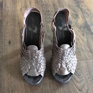 Seven for all mankind brown leather woven heel